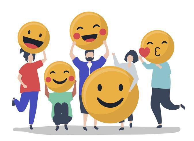 Caractères des personnes détenant une illustration d'émoticônes positives