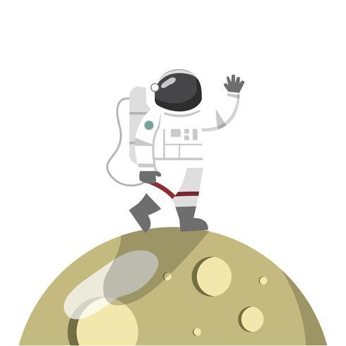Astronauta en el vector de la luna