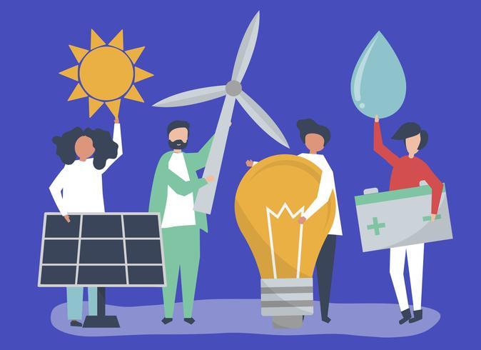 Caratteri della gente che tiene le icone di energia verde