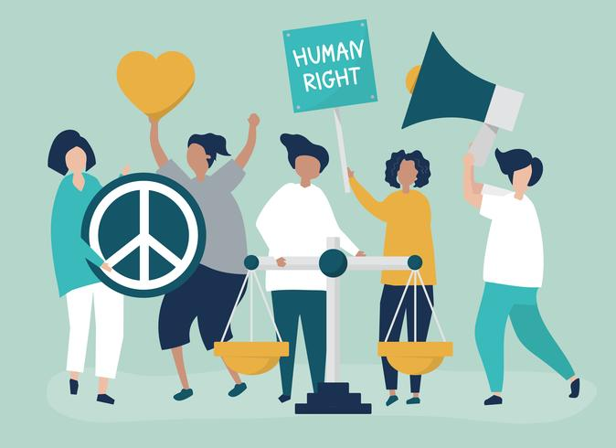Menigte van demonstranten die zich inzetten om de mensenrechten te ondersteunen