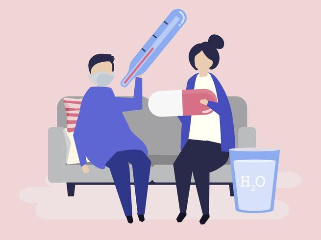 Karaktär illustration av personer med sjukdom begrepp
