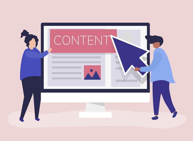 Personas con concepto de creación de contenidos digitales.