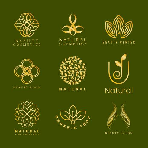 Set of natural cosmetics logo vector