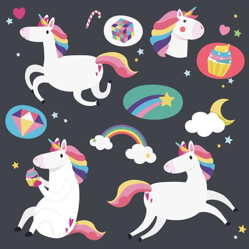 Cute unicorns with magical elements vector