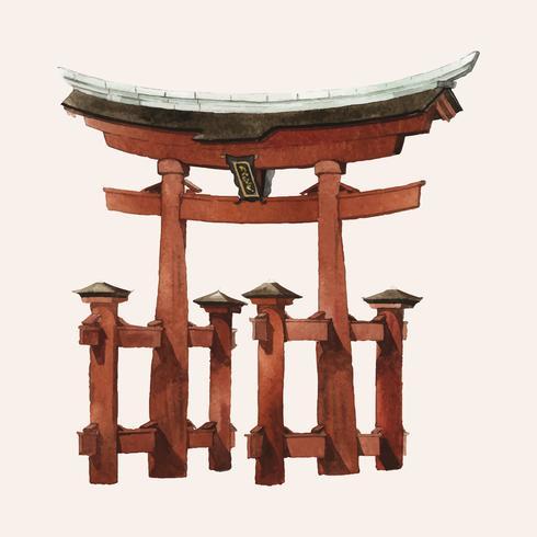 Japanse Torii-poort die door waterverf wordt geschilderd