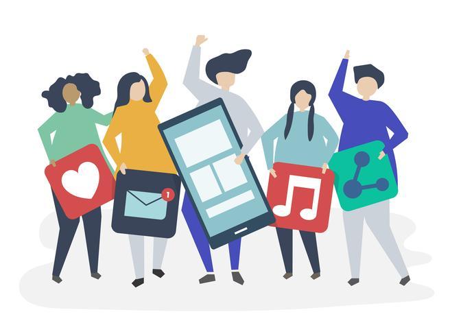 Personagens de pessoas segurando ilustração de ícones de redes sociais
