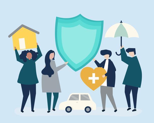 Leute tragen Icons im Zusammenhang mit der Versicherung