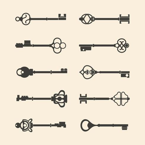 Ensemble de vecteurs clés de design vintage
