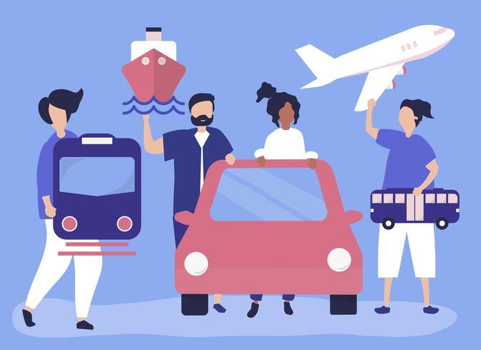 Människor som har olika transportikoner