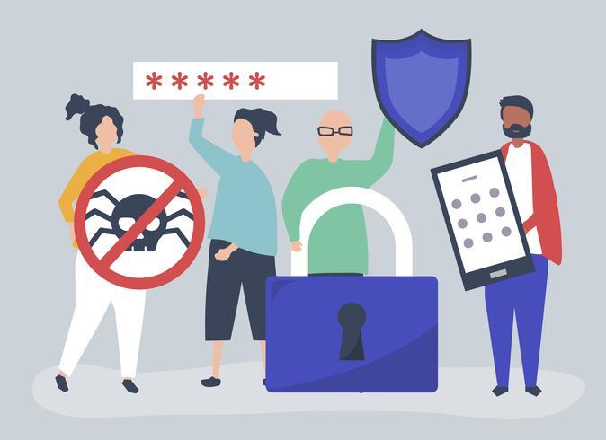 Illustrazione delle persone con le icone di privacy e sicurezza
