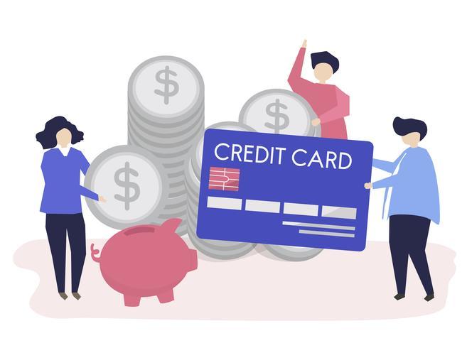 Charaktere der Leute- und Bargeldeinsparungenskonzeptillustration