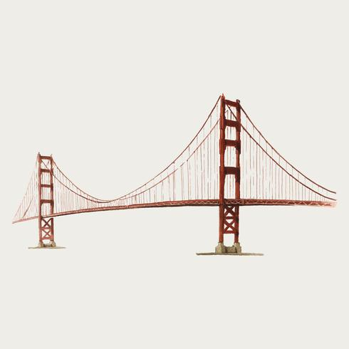 L'illustrazione dell'acquerello del Golden Gate Bridge