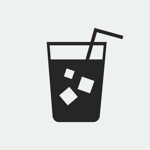 Refrescante bebida fría con una ilustración de paja