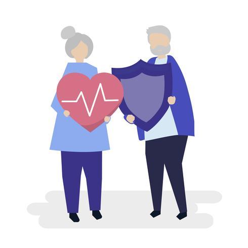 Coppie maggiori che tengono le icone di assicurazione sanitaria