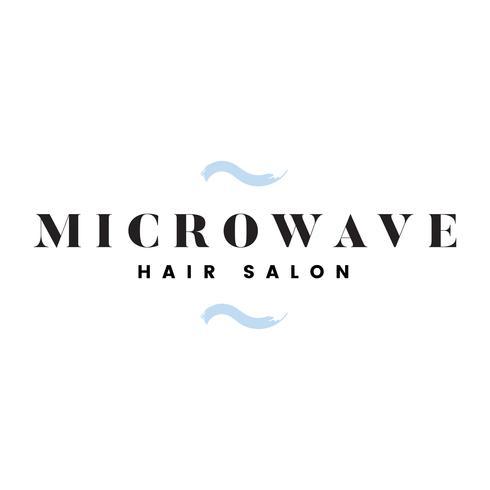 Mikrowellenfriseursalon-Logovektor vektor