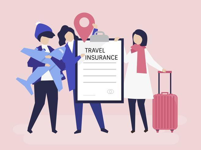 Viajeros con póliza de seguro de viaje. vector