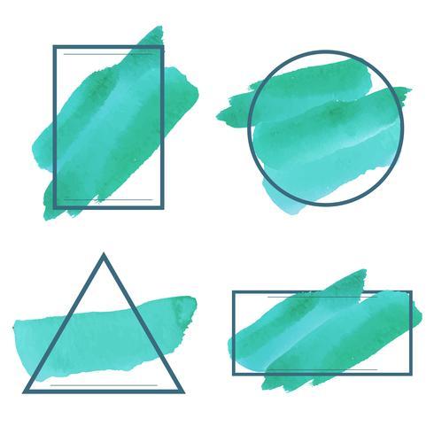 Insieme del vettore di disegno della bandiera dell'acquerello verde