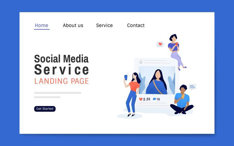 Social media service landing page layout vector