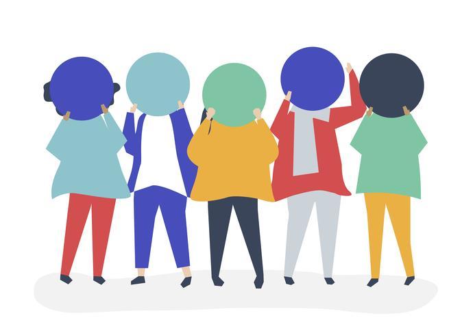 Groupe de personnes avec papier circulaire vierge