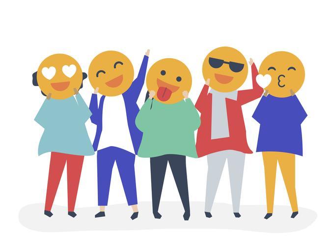 Gente con emoción feliz emoticonos ilustración