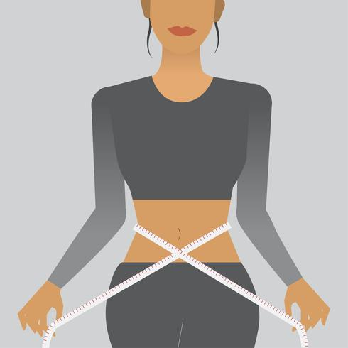 Woman measuring her waist illustration