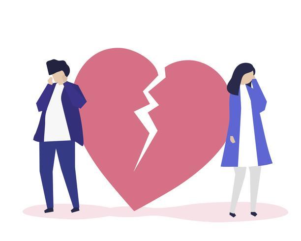 Karakterillustratie van paar met een liefdesverdrietingspictogram