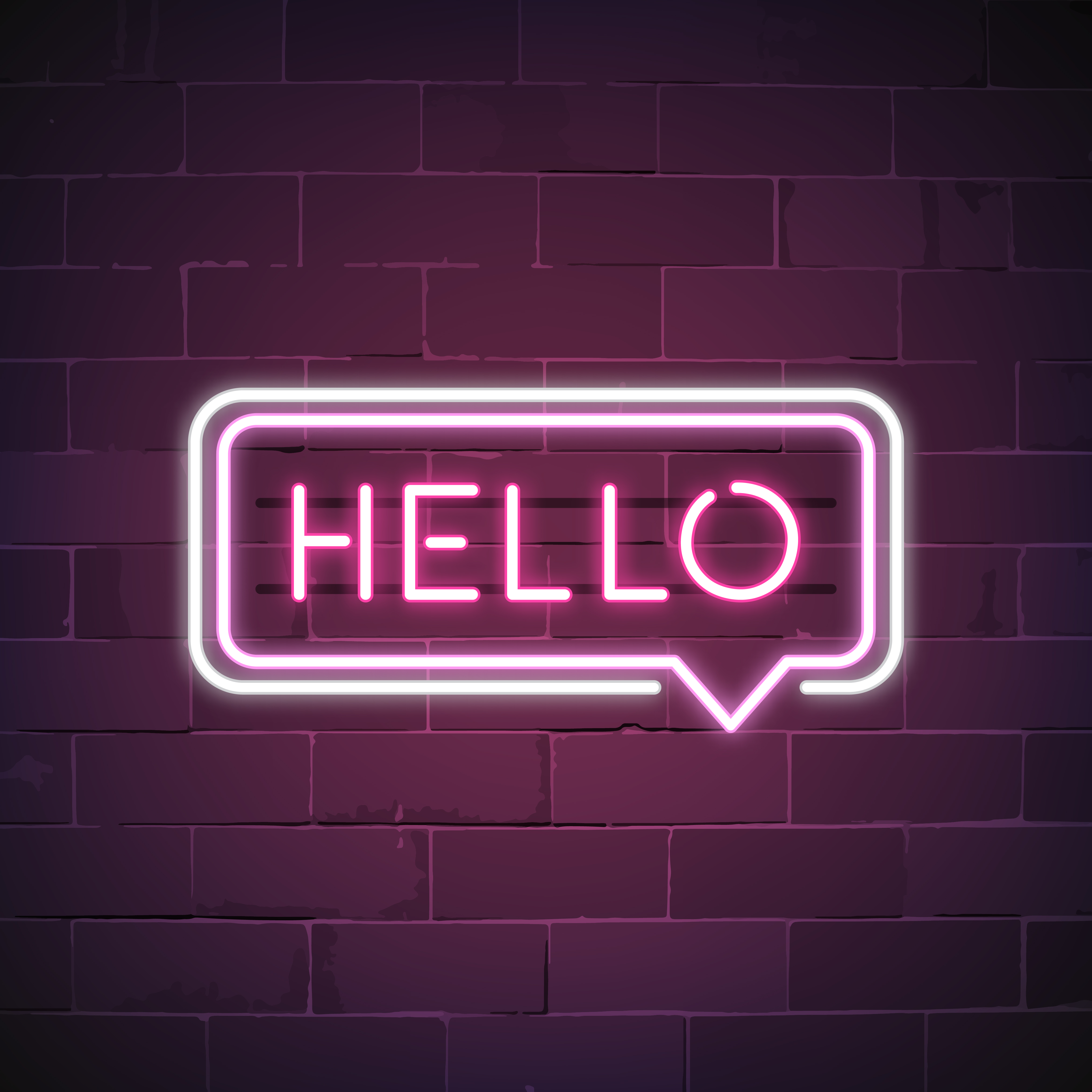 Pink hello in a speech bubble neon sign vector - Download ...