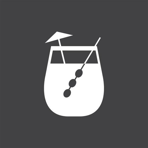 Umbrella drink cocktail glass illustration