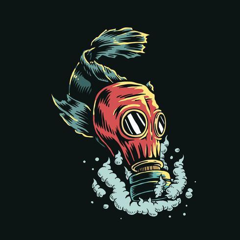 Poisson portant un masque à gaz dans une illustration d'eau polluée