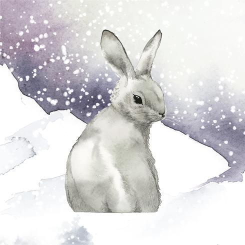 Wild grijs die konijn in een de wintersprookjesland door waterverfvector wordt geschilderd