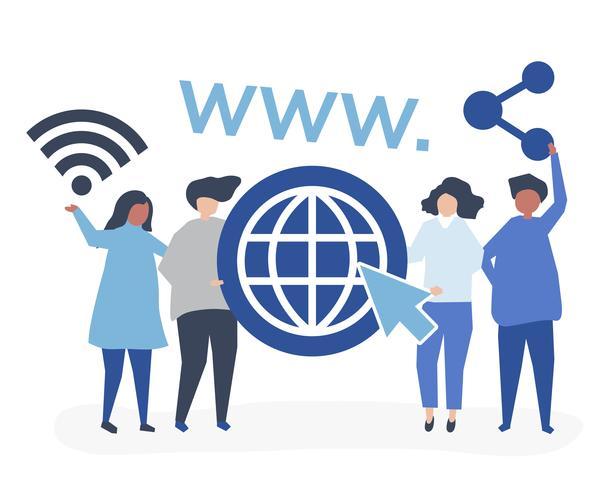 Karakterillustratie van mensen die pictogrammen van het World Wide Web houden
