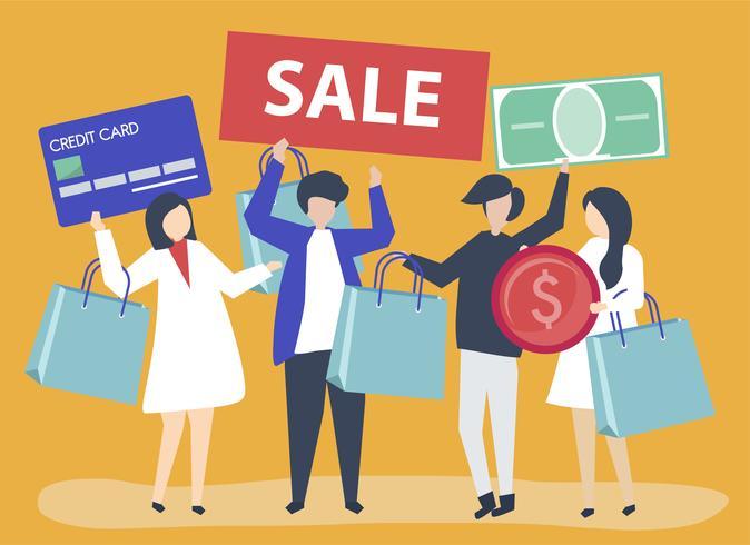 Karakters van mensen die het winkelen pictogrammenillustratie houden