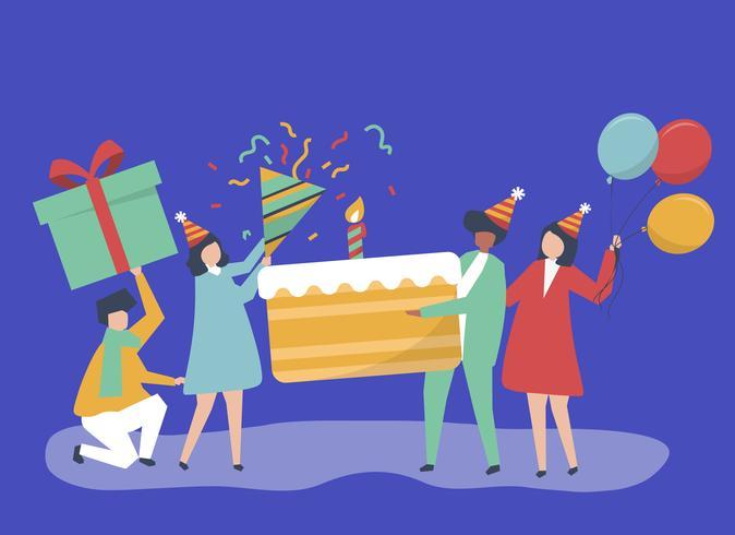 Charakterillustration von den Leuten, die Geburtstagsfeierikonen halten