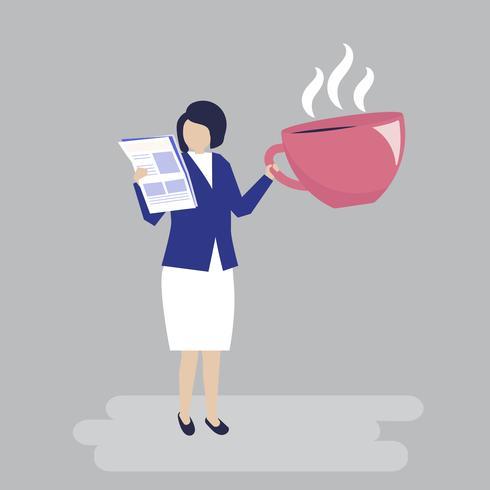 Femme d'affaires, boire du café et lire une illustration de journal