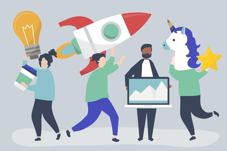 Personajes de personas sosteniendo iconos de concepto de negocio creativo