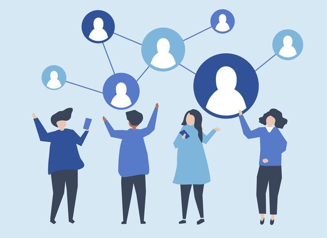 Personajes de personas y su ilustración en redes sociales.
