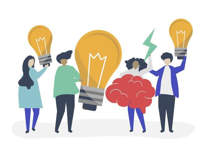 Karaktär illustration av personer med kreativa idéer ikoner