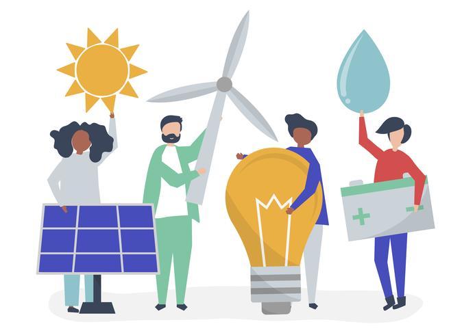 Personajes de personas con iconos de energía verde. vector