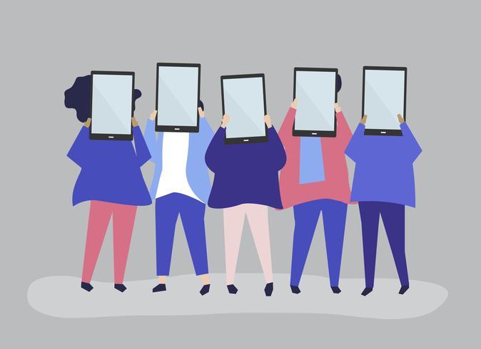 Illustrazione di carattere di persone in possesso di tavolette digitali