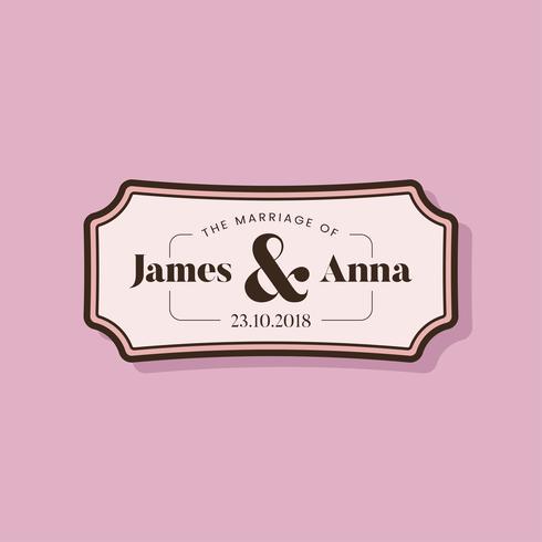 Insigne d'invitation de mariage de style classique vecteur