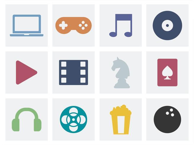 Ilustración gráfica de los iconos del concepto del entretenimiento