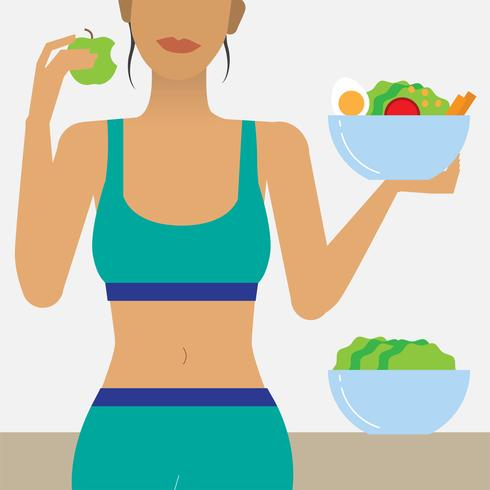 Femme mangeant une illustration d'aliments sains