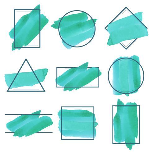 Set of green watercolor banner design vector
