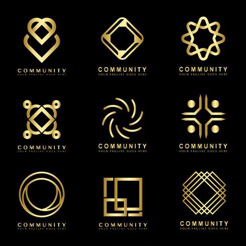 Ensemble d'échantillons de conception de logo de marque communautaire