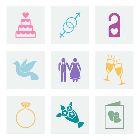 Set van liefde en bruiloft vectoren