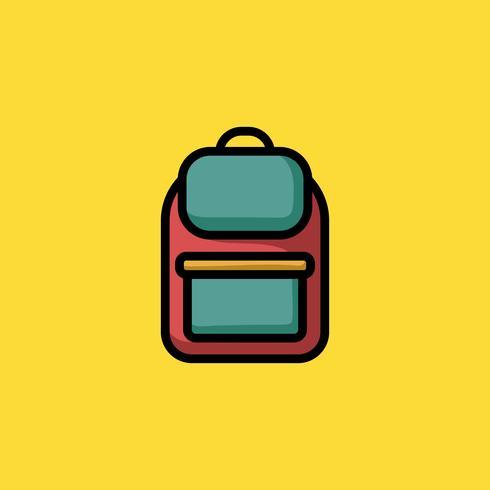 Kleurrijke rugzak doodle pictogram illustratie