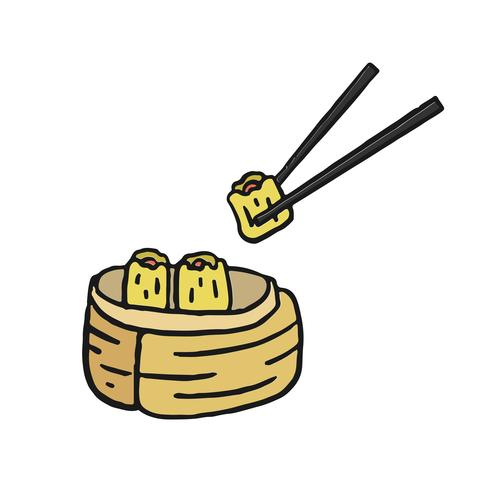 Dim sum, illustration de menu de cuisine chinoise