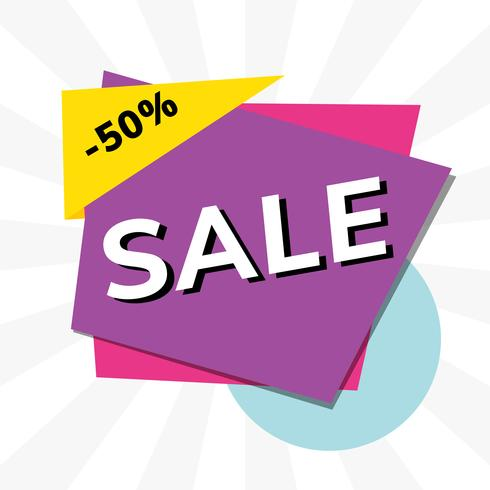 Venda 50% de desconto no vetor de propaganda de promoção de loja