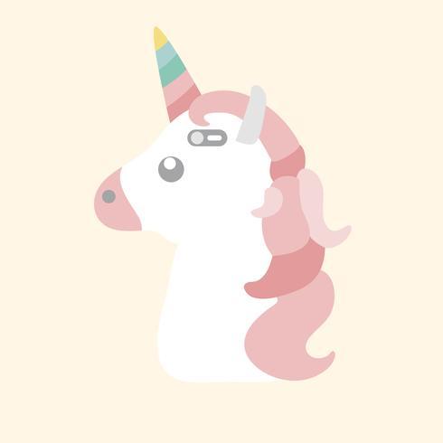 Pastel vector de caja de teléfono unicornio
