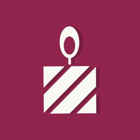 Pastel con vela icono de día de San Valentín